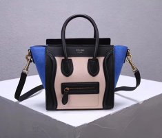 Celine Small Luggage Tote 20cm Black Nude Blue