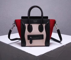 Celine Small Luggage Tote 20cm Black Nude Red