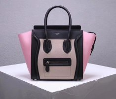 Celine Large Luggage Tote Bag 30cm Black Nude Pink