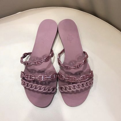 Hermes Jelly Flat Sandals Burgundy Size 35-40