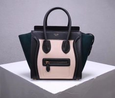Celine Large Luggage Tote Bag 30cm Black Nude Dark Green