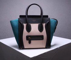 Celine Large Luggage Tote Bag 30cm Black Nude Green
