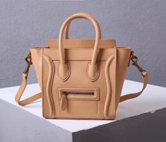 Celine Small Luggage Tote 20cm Apricot Leather Bag