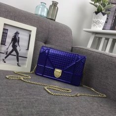 Dior Diorama Wallet On Chain Bag 19cm Metallic Blue