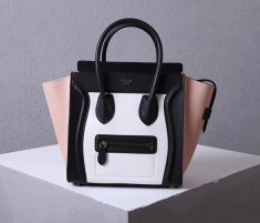 Celine Large Luggage Tote Bag 30cm Black White Nude