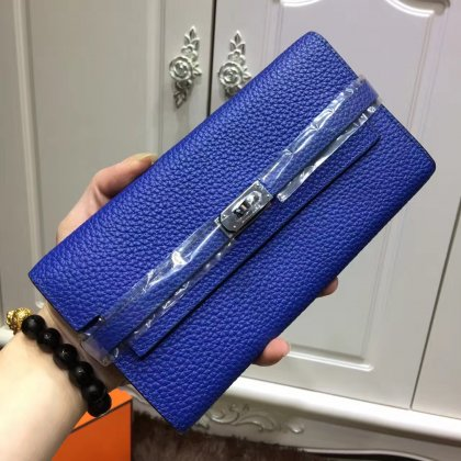 Hermes Kelly Wallet Togo Leather Electric Blue