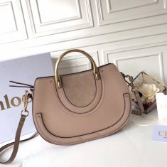 Chloe Large Pixie Leather and Suede Bag Nude
