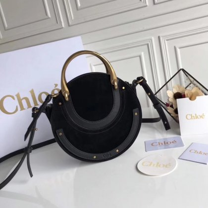 Chloe Small Pixie Leather and Suede Bag Black