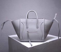 Celine Boston Leather Tote Handbag Light Grey