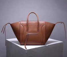 Celine Boston Leather Tote Handbag Brown