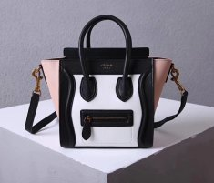 Celine Small Luggage Tote 20cm Black White Nude