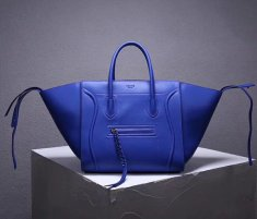 Celine Boston Leather Tote Handbag Blue