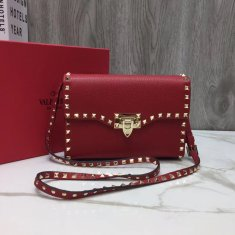 Valentino Free Rockstud Small Crossbody Bag Red Gold
