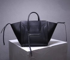Celine Boston Leather Tote Handbag Black