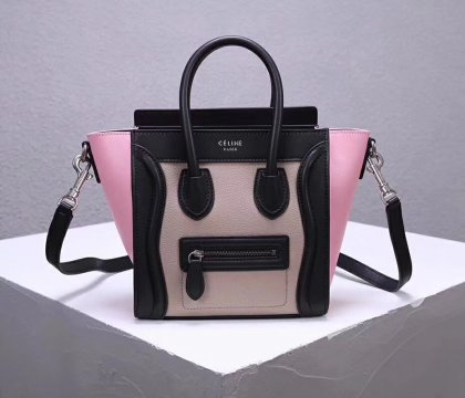 Celine Small Luggage Tote 20cm Black Nude Pink