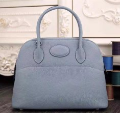 Hermes Bolide 31cm Togo Leather Blue Lin Bag