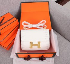 Hermes Constance 23cm Croco Leather White Grey