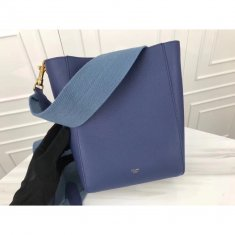 Celine Sangle 17.5cm Small Shoulder Leather Bag Blue