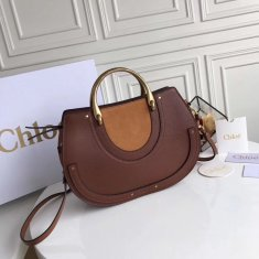 Chloe Large Pixie Leather and Suede Bag Brown