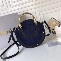 Chloe Small Pixie Leather and Suede Bag Navy