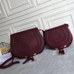 Chloe Marcie Crossbody Bag Burgundy Size 19cm and 24cm