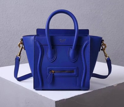 Celine Small Luggage Tote 20cm Blue Leather Bag