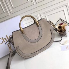 Chloe Large Pixie Leather and Suede Bag Grey