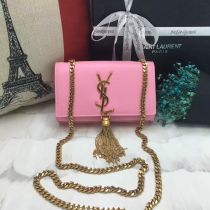 YSL Small Tassel Chain Leather Bag 17cm Pink