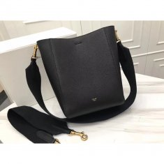 Celine Sangle 17.5cm Small Shoulder Leather Bag Black