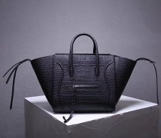 Celine Boston Leather Tote Handbag Black Croco