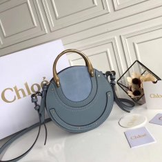 Chloe Small Pixie Leather and Suede Bag Blue