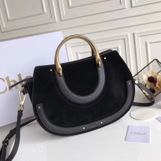 Chloe Large Pixie Leather and Suede Bag Black