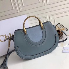 Chloe Large Pixie Leather and Suede Bag Blue