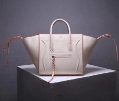 Celine Boston Leather Tote Handbag Beige Orange