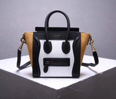 Celine Small Luggage Tote 20cm Black White Yellow
