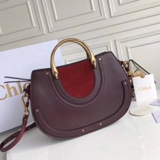 Chloe Large Pixie Leather and Suede Bag Burgundy