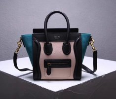 Celine Small Luggage Tote 20cm Black Nude Green