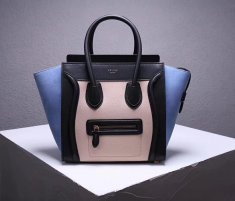 Celine Large Luggage Tote Bag 30cm Black Nude Light Blue