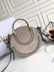 Chloe Small Pixie Leather and Suede Bag Grey