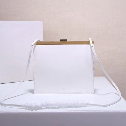 Celine Clasp Bag Smooth Leather White