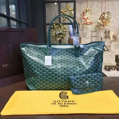 Goyard Classic Chevron St. Louis GM Green Tote Bag