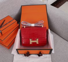 Hermes Constance 23cm Croco Leather Red