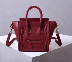 Celine Small Luggage Tote 20cm Burgundy Leather Bag