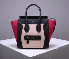Celine Large Luggage Tote Bag 30cm Black Nude Rose