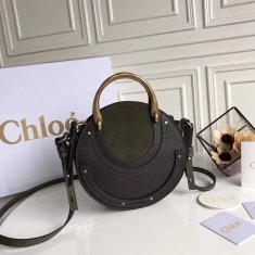 Chloe Small Pixie Leather and Suede Bag Green