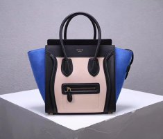 Celine Large Luggage Tote Bag 30cm Black Nude Blue