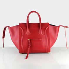 Celine Boston Leather Tote Handbag Red