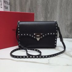 Valentino Free Rockstud Small Crossbody Bag Black Gunmetal