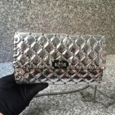 Valentino Free Rockstud Spike Chain Bag Silver