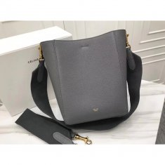 Celine Sangle 17.5cm Small Shoulder Leather Bag Grey